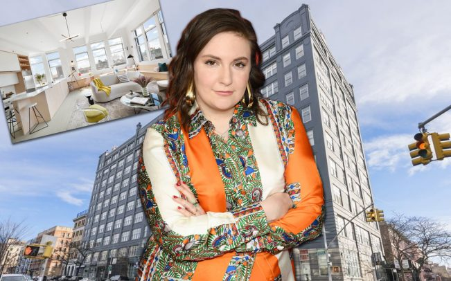 Lena Dunham and 60 Broadway (Credit: Getty Images)