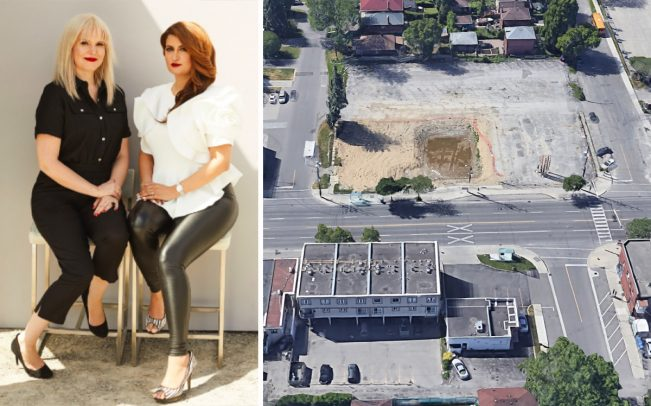 Team leaders Taya Cook and Sheery Larjani and an aerial view of 689 The Queensway (Credit: Google Maps)