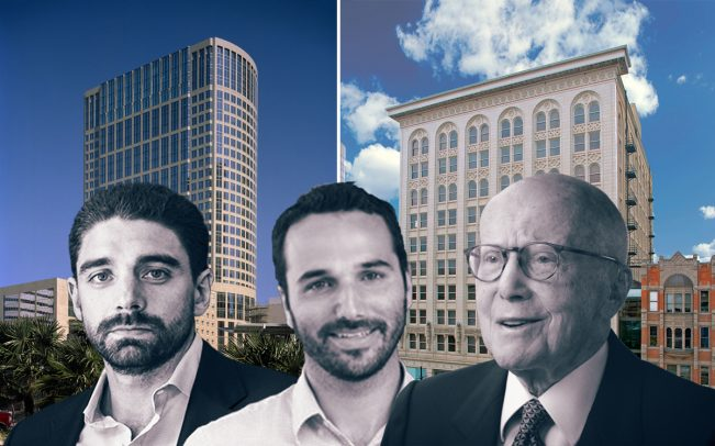 From left: Ryan Simonetti, Jamie Hodari and Gerald Hines with 717 Texas in Houston (left) and The Kearns Building in Salt Lake City (right)