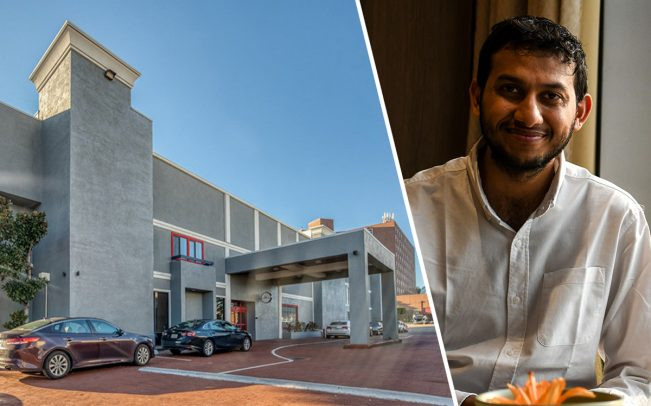 OYO Hotels CEO Ritesh Agarwal and OYO Townhouse in Dallas, Texas (Credit: OYO Hotels and Getty Images)