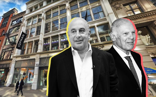 From left: Topshop and Topman stores at 478 Broadway, Arcadia Group CEO Philip Green, and Vornado CEO Steven Roth (Credit: Getty Images and Google Maps)