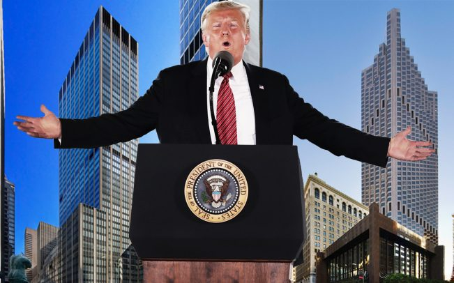 President Donald Trump with 1290 Sixth Avenue in New York (left) and 555 California Street in San Francisco (right) (Credit: Getty Images)