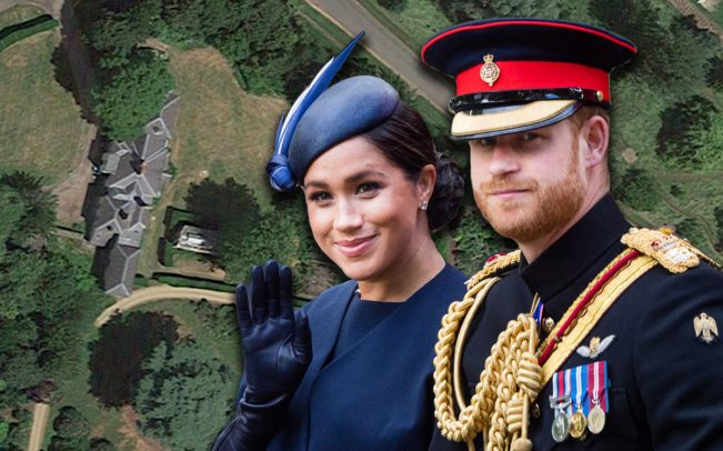 Meghan Markle, Prince Harry and an aerial view of Frogmore Cottage (Credit: Getty Images, Google Maps)