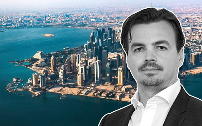 Qatar Sotheby's International Realty General Manager Seran Gheorghe, and a view of Doha, Qatar