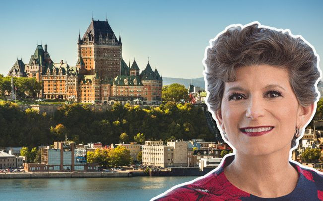 Ventas CEO Debra Cafaro and the Quebec City skyline (Credit: iStock)