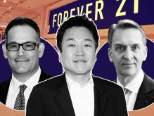 From left: Simon Property Group David Simon, Forever 21 CEO Do Won Chang, and Brookfield CEO Bruce Flatt (Credit: Getty Images)