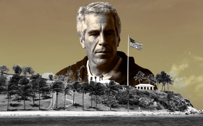 Jeffrey Epstein and Little St. James Island (Credit: Getty Images; Little St. James via Navin75/Flickr)
