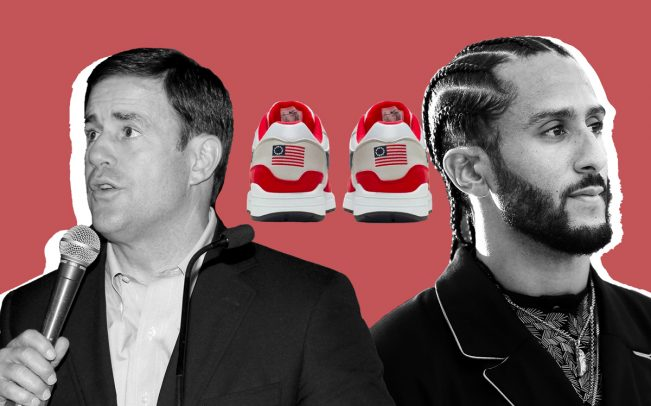 Arizona Governor Doug Ducey, Nike's Betsey Ross Sneaker, and Colin Kaepernick (Credit: Getty Images and Nike)