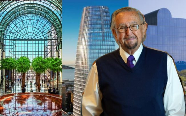 César Pelli, and from left: Brookfield Place in New York, Salesforce Tower in San Francisco, and the Pacific Design Center in Los Angeles (Credit: Pelli Clarke Pelli Architects)