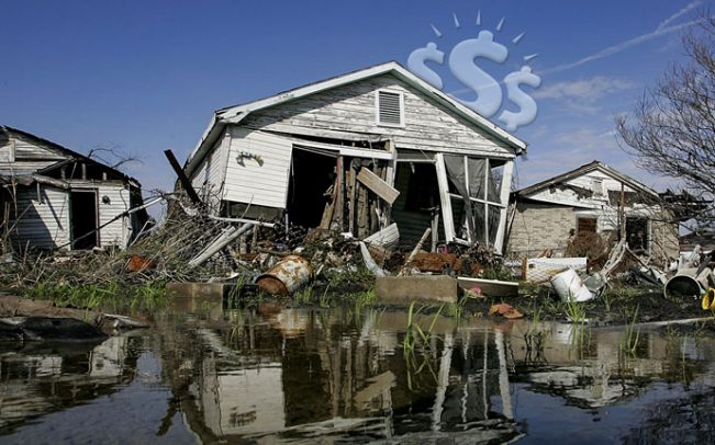 Homes damaged in Hurricane Katrina. (Getty)