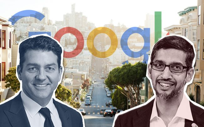 From left: Lendlease's Denis Hickey and Google CEO Sundar Pichai