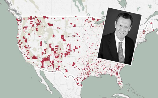 Opportunity Zones map and Bridge Investment Group chairman Robert Morse
