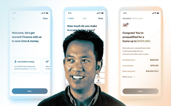 Opendoor CEO Eric Woo and images of its Opendoor Home Loans app (Credit: Resolute Ventures)