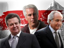 From left: Paul Manafort with Trump Tower, Jeffrey Epstein, and Bernie Madoff with 133 East 64th Street (Credit: Getty Images, CityRealty, and Wikipedia)