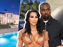 Kim Kardashian West and Kanye West with their Bel-Air mansion, the Hidden Hills house, and a Star Wars-themed dome (Credit: Wikipedia, Compass, Douglass Elliman, and Getty Images)