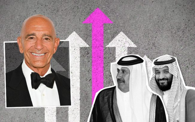 From left: Tom Barrack, former Qatari Prime Minister Hamad bin Jassim bin Jaber Al Thani, and Saudi Crown Prince Mohammad bin Salman.