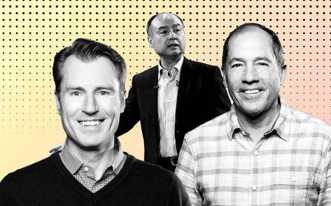From left: Katerra COO Paal Kibsgaard, Softbank CEO Masayoshi Son, and Katerra CEO Michael Marks (Credit: Katerra, Getty Images, and iStock)