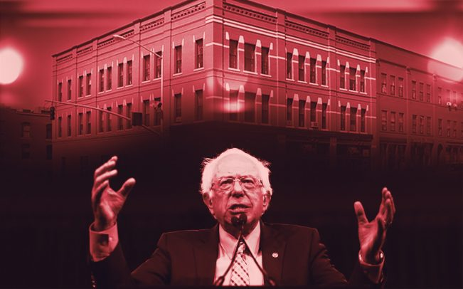 Bernie Sanders andChamplain Community Housing Land Trust's affordable housing (Credit: Getty Images and Build a Better Burb)