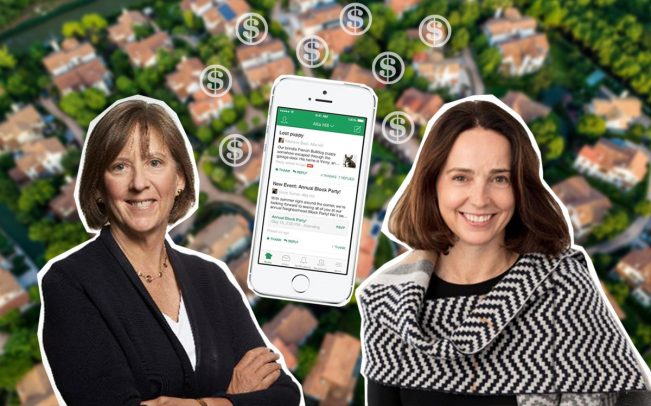 Bond's Mary Meeker, Nextdoor's Sarah Friar and the Nextdoor app (Credit: iStock)