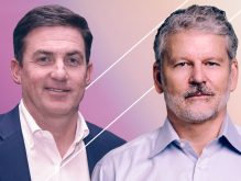 WeWork co-CEOs Artie Minson and Sebastian Gunningham (Credit: Getty Images and Twitter)