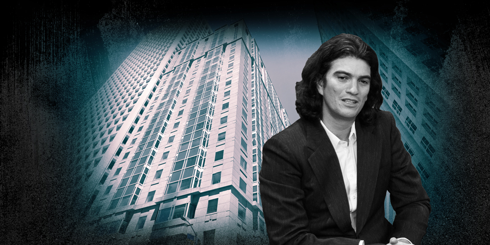 600 California Street in San Francisco and Adam Neumann (Credit: Google Maps and Getty Images)