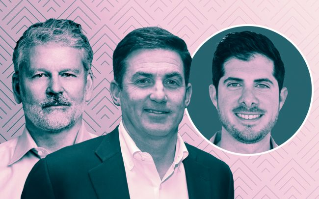 WeWork co-CEOs Artie Minson, Sebastian Gunningham and Jones CEO Omri Stern (Credit: LinkedIn)