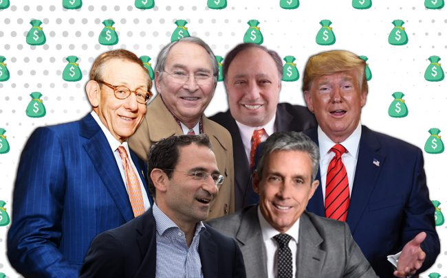 From left: Stephen Ross, Jonathan Gray, Sheldon Solow, John Catsimatidis, Charles Cohen and Donald Trump (Credit: Getty Images, iStock)