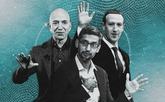 Amazon's Jeff Bezos, Google's Sundar Pichai and Facebook's Mark Zuckerberg (Getty, iStock)
