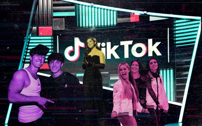 TikTok's biggest stars include (from left) Bryce Hall, Griffin Johnson, Addison Rae, Charli D'Amelio and Dixie D'Amelio (Getty)