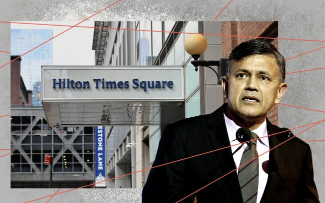 Hotel Association of New York City CEO Vijay Dandapani and Hilton Times Square (Getty)