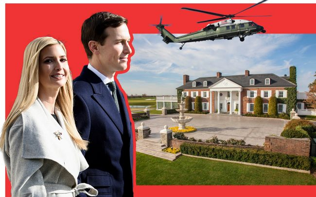 Ivanka Trump and Jared Kushner with the Trump National Golf Club in Bedminster (Getty; Trump Org)
