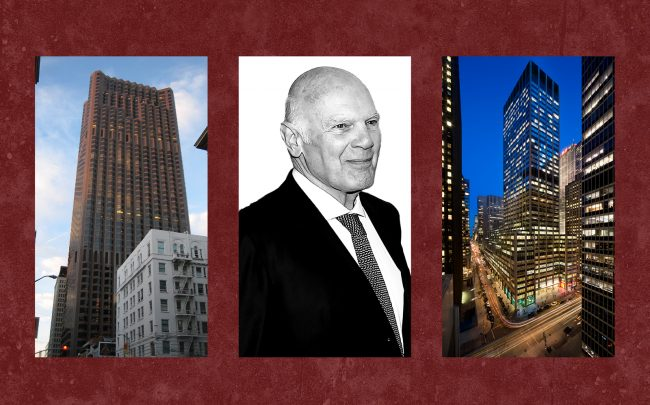 From left: 555 California Street in San Francisco, Vornado CEO Steven Roth and 1290 Sixth Avenue in Manhattan (Photos via Wikipedia Commons; Getty; Trump Org)