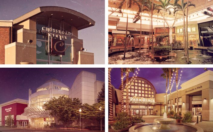 Four of the malls in question: Crossroads Center in St. Cloud, Minnesota, Mall St. Matthews in Louisville, Kentucky, North Point Mall in Alpharetta, Georgia and Park Place Mall in Tucson, Arizona. (Crossroads Center, Mall St. Matthews, North Point, Park Place)
