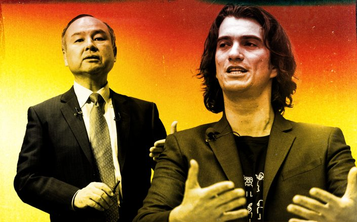 Softbank CEO Masayoshi Son and Adam Neumann (Getty/Illustration by Kevin Rebong for The Real Deal)