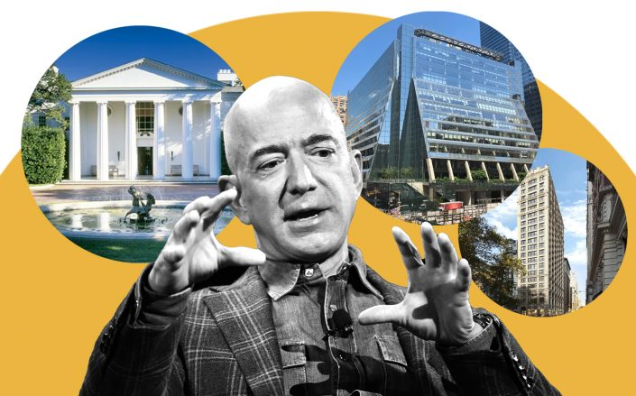 Amazon founder Jeff Bezos with his Beverly Hills estate, 5 Manhattan West and 212 Fifth Avenue (Photos via Getty; Pinterest; Wikipedia Commons; City Realty)
