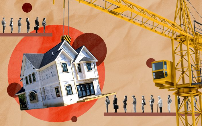 The NAHB/Wells Fargo Housing Index reading increased in February, driven by expectations that homebuyer traffic was picking up. (iStock/Illustration by Kevin Rebong for The Real Deal)
