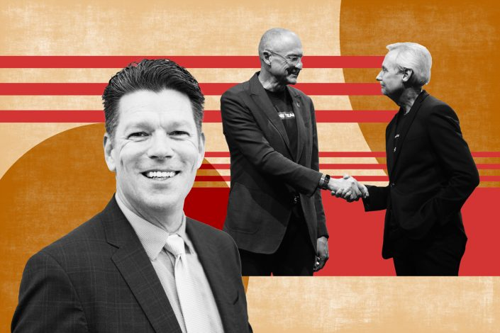 From left to right: Keller Williams president Marc King, Carl Liebert, CEO of KWx, the parent holding company of KW and Gary Keller, executive chairman, KWx and Keller Williams. (Keller Williams/Illustration by Kevin Rebong for The Real Deal)