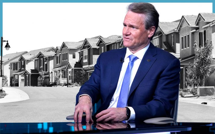 Bank of America CEO Brian Moynihan (Photo via Getty/iStock/Illustration by Kevin Rebong for The Real Deal)