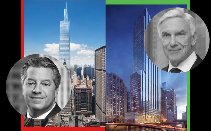 SL Green's Marc Holliday with One Vanderbilt and Riverside Investment's John O'Donnell with 110 North Wacker (Photos via SL Green, Riverside)