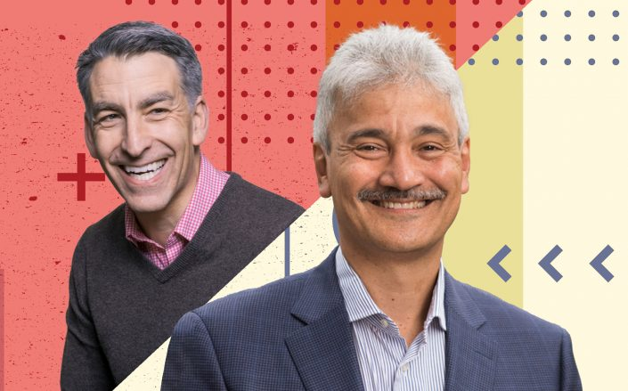 Redfin CEO Glenn Kelman and RentPath CEO Dhiren Fonseca (Redfin, RentPath/Illustration by Kevin Rebong for The Real Deal)
