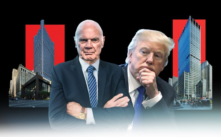 From left: 555 California Street in San Francisco, Vornado CEO Steven Roth, Donald Trump, 1290 Avenue of the Americas in New York (Getty, VNO/Photo Illustration by Kevin Rebong for The Real Deal)