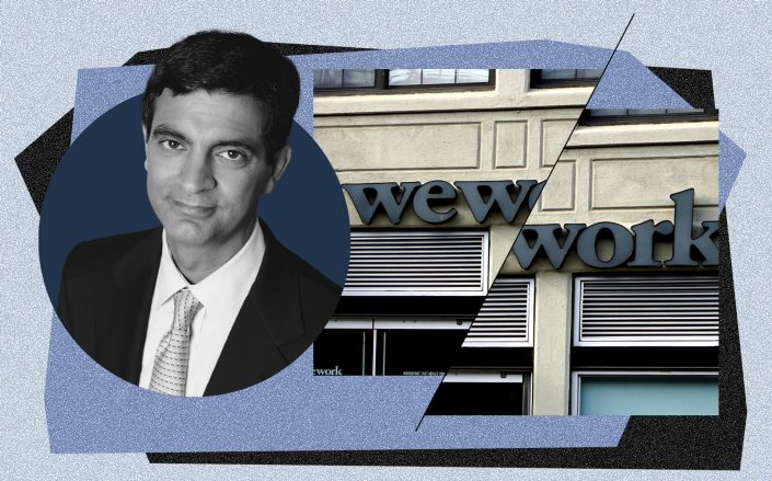 WeWork CEO Sandeep Mathrani (Wikipedia Commons, iStock/Illustration by Kevin Rebong for The Real Deal)