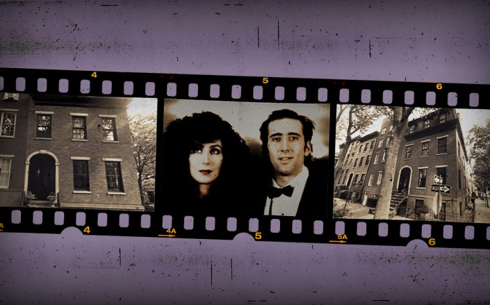 "19 Cranberry Street and ""Moonstruck"" stars Cher and Nicolas Cage (Getty, Google Maps/Illustration by Alexis Manrodt for The Real Deal)"