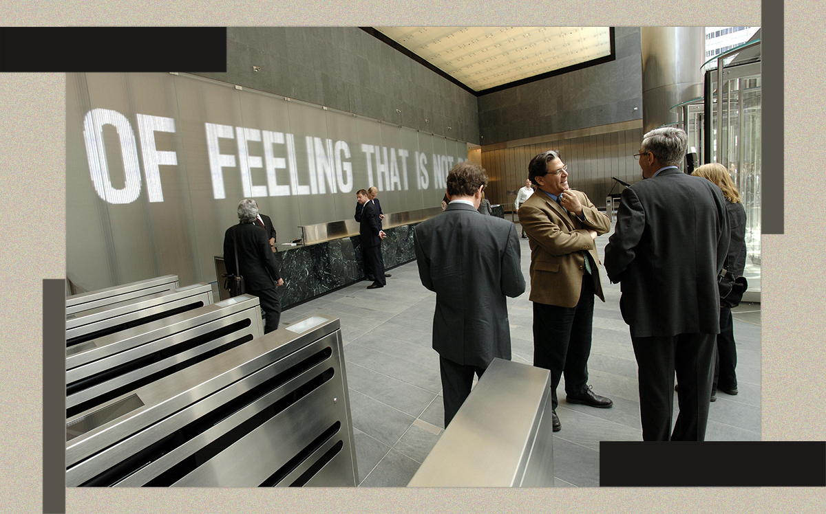 A digital wall installation by artists Jenny Holzer and James Carpenter in the lobby of 7 World Trade Center (Getty)