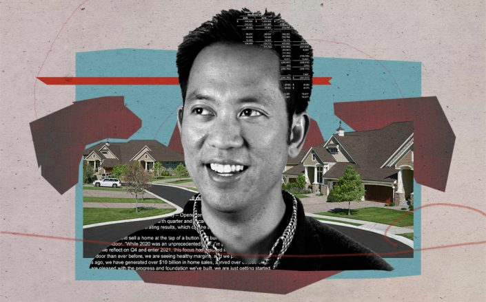 Opendoor CEO Eric Wu (Opendoor, iStock/Illustration by Alexis Manrodt for The Real Deal)