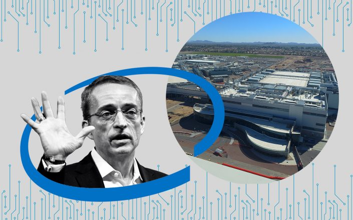 Intel CEO Pat Gelsinger and an aerial of the Arizona campus in Chandler, Arizona (Getty, Bussinesswire/Berkshire Hathaway)