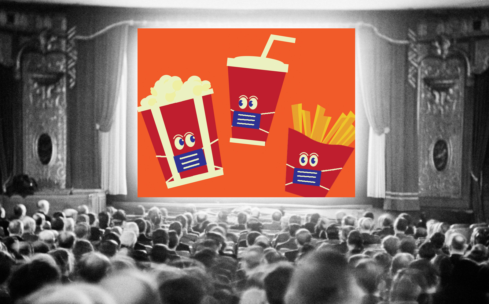 Theaters in some cities are opening with restrictions. (Getty, Photo Illustration by Alison Bushor for The Real Deal)