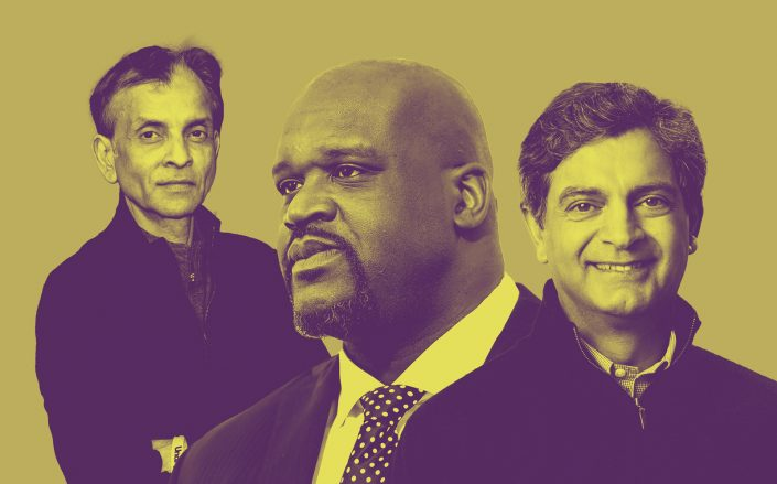 From left: Bow Capital's Vivek Ranadivé, Shaquille O'Neal and WeWork's Sandeep Mathrani (Getty)