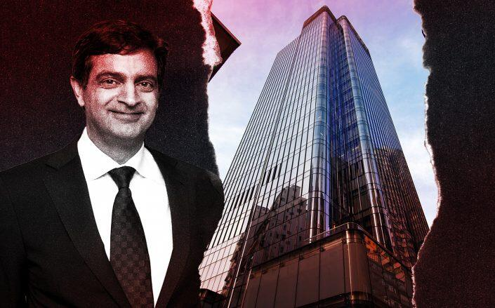 Tower 535 in Hong Kong and WeWork CEO Sandeep Mathrani (Photos via SOM, Getty)