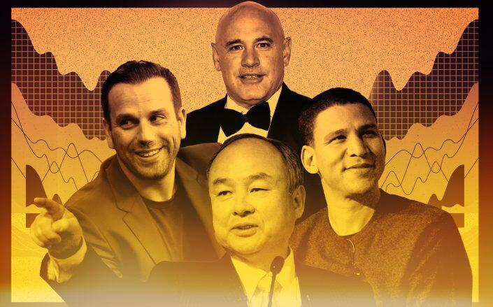 Clockwise: Ori Allon, Robert Citrone, Robert Reffkin and Masayoshi Son (Getty/Illustration by Kevin Rebong for The Real Deal)